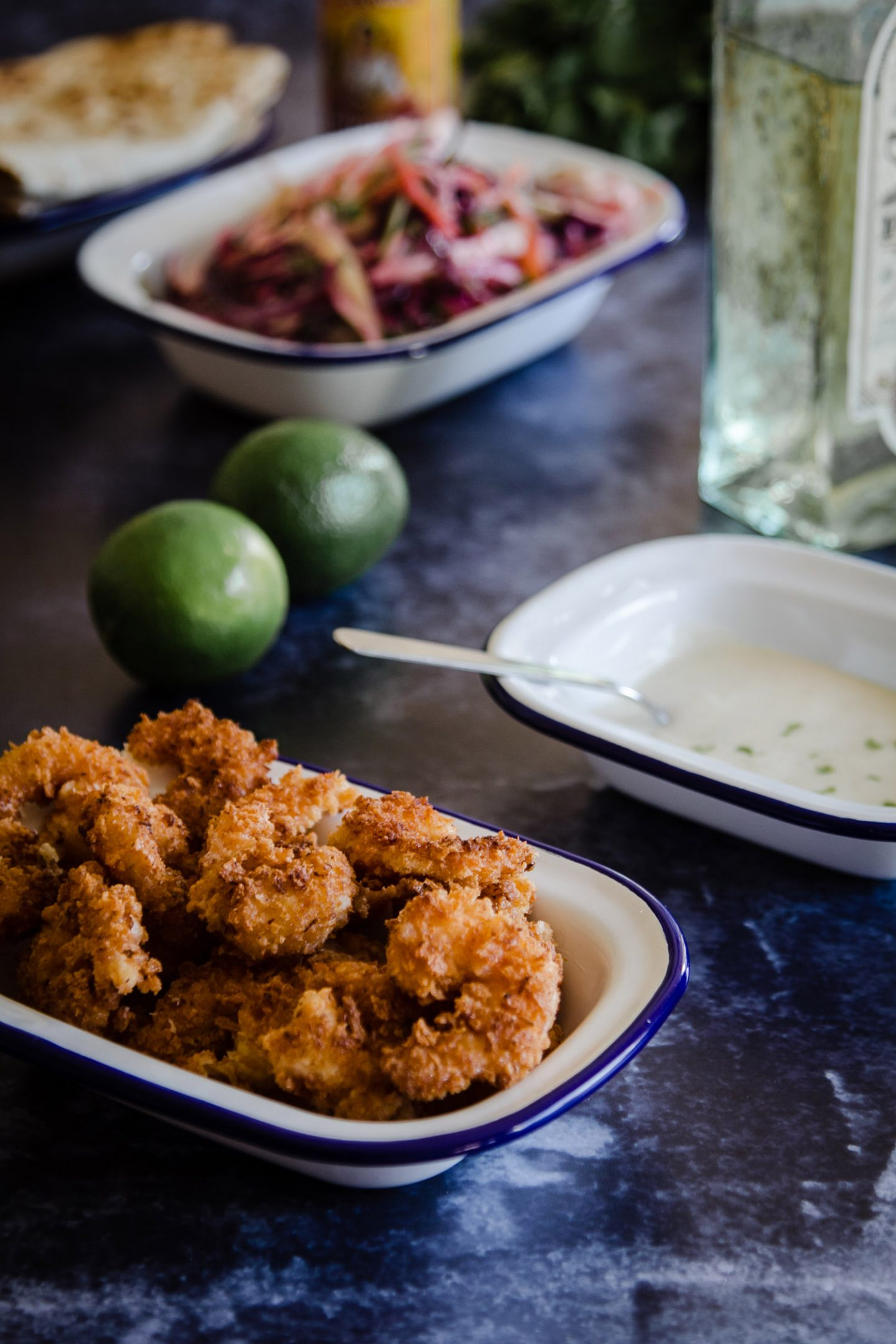 Crispy Coconut Prawns with Lime Tequila Dip